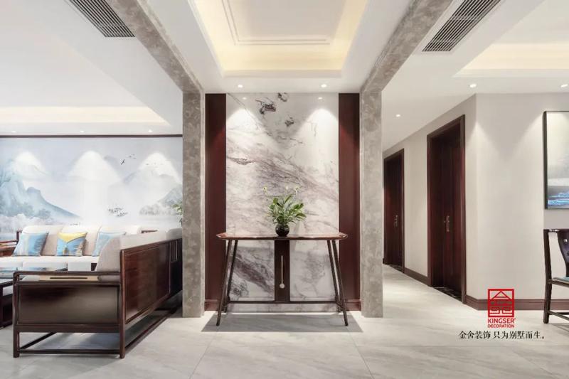 保利拉菲150㎡新中式風格玄關設計實景圖