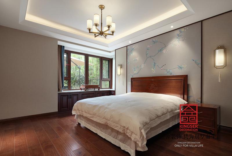 国宾壹号210㎡新中式风格装修卧室设计实景图