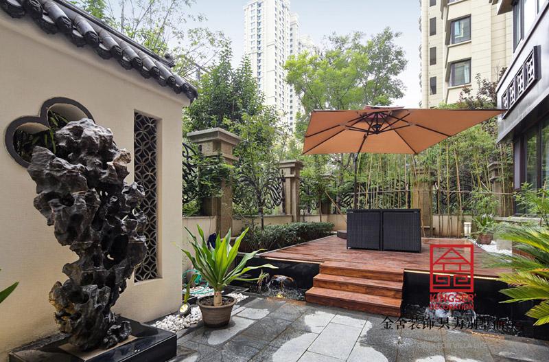 国宾壹号210㎡新中式风格装修小院设计实景图