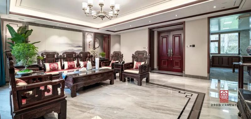天山國賓壹號裝修188㎡新中式風格客廳實景圖