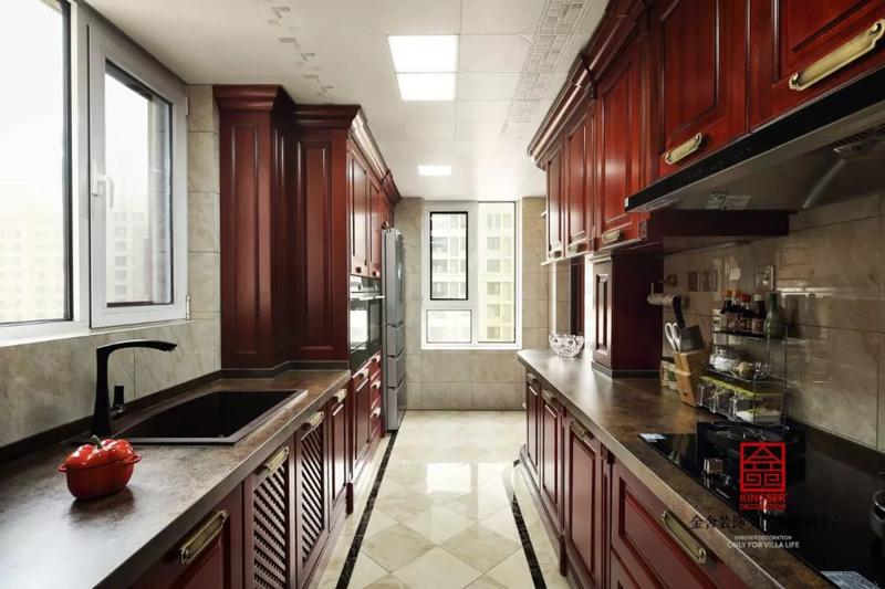 保利拉菲174㎡裝修中式風格廚房實景設計圖
