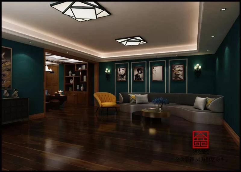 自建别墅800㎡装修设计简约美式书房实景图