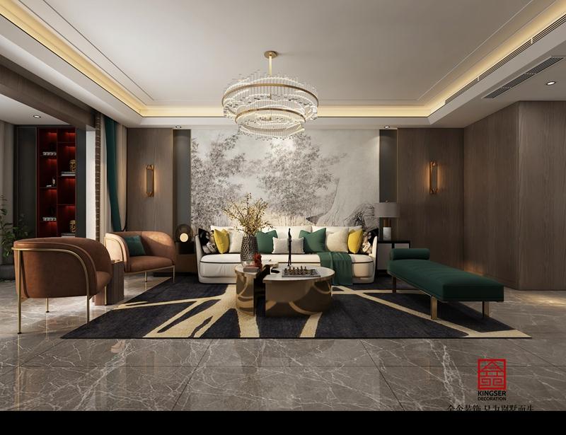 融创中心217平轻奢风格客厅设计案例效果图