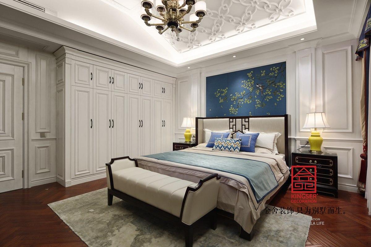原河名墅600㎡新中式风格装修卧室实景图案例