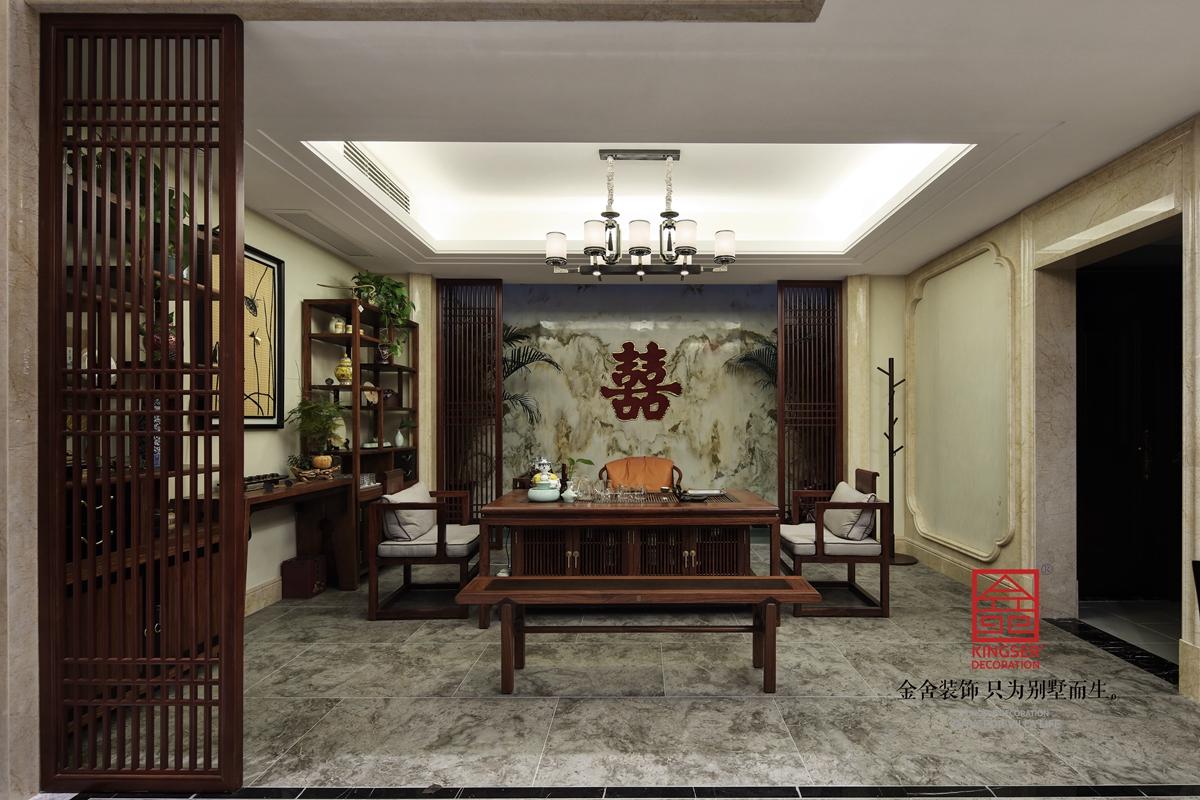 原河名墅600㎡新中式風格裝修茶室實景圖案例