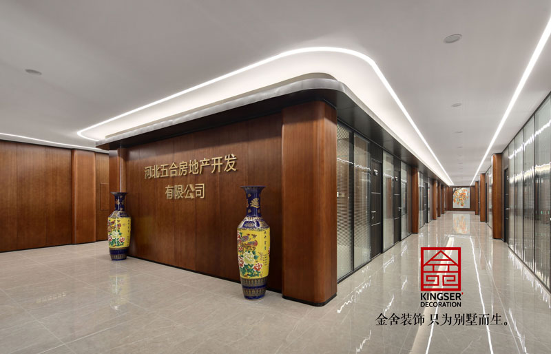工装案例-五合地产公司装修2000平米中式风格实景图  