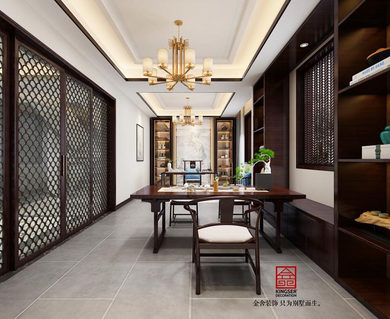 別墅裝修240平米新中式風格書房設計效果圖