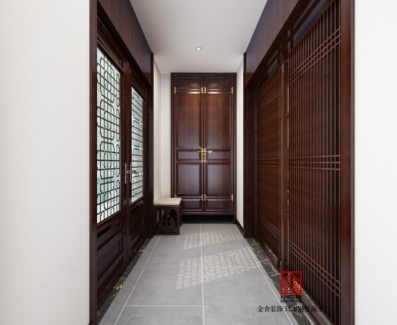 別墅裝修240平米新中式風格玄關設計效果圖