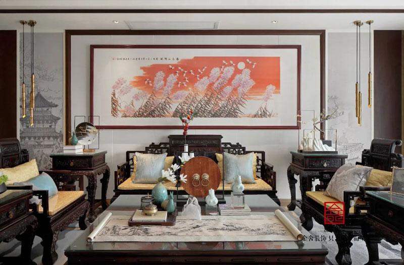 天海容天下170平样板间装修新中式风格客厅实景图