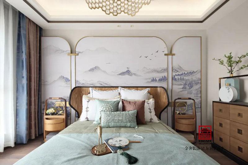 天海容天下170平样板间装修新中式风格问卧室实景图