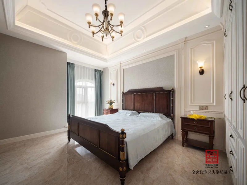 国际城小区300㎡欧式风格装修案例卧室设计实景图
