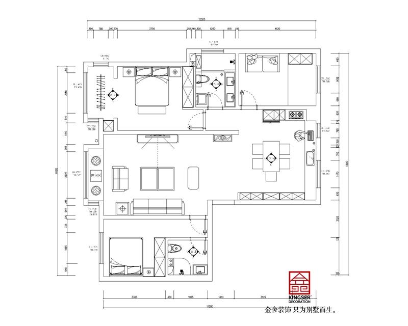 保定假日丽城装修三室两厅户型改造方案