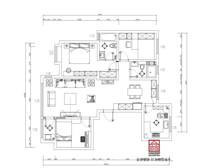 上林熙园130平三室两厅户型优缺点分析