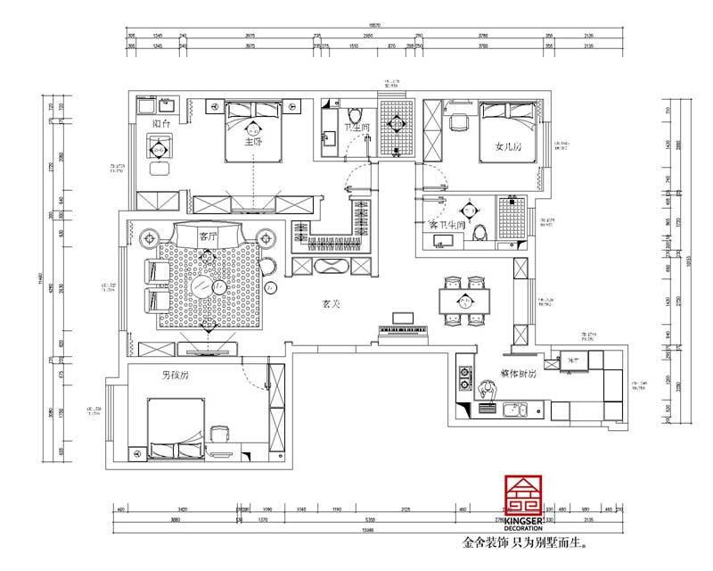 朝阳首府御园装修三室两厅户型设计方案