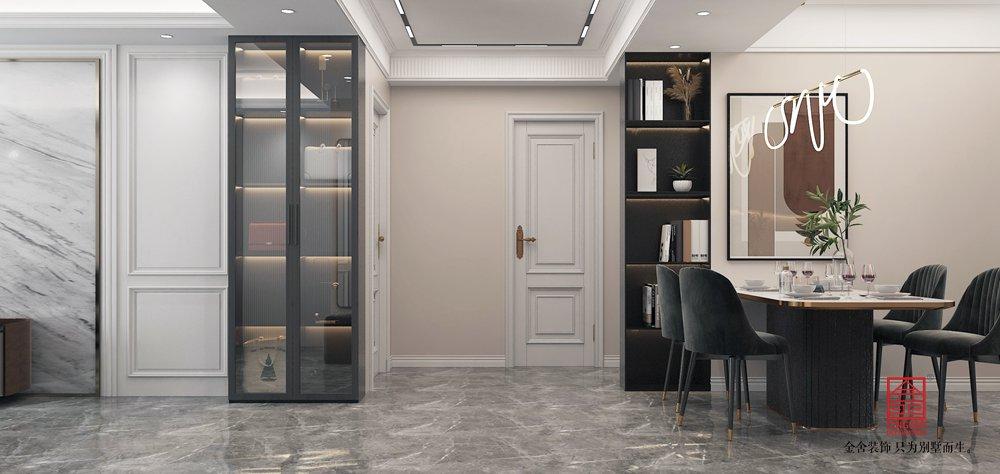 綠都皇城150平米裝修-美式輕奢-玄關