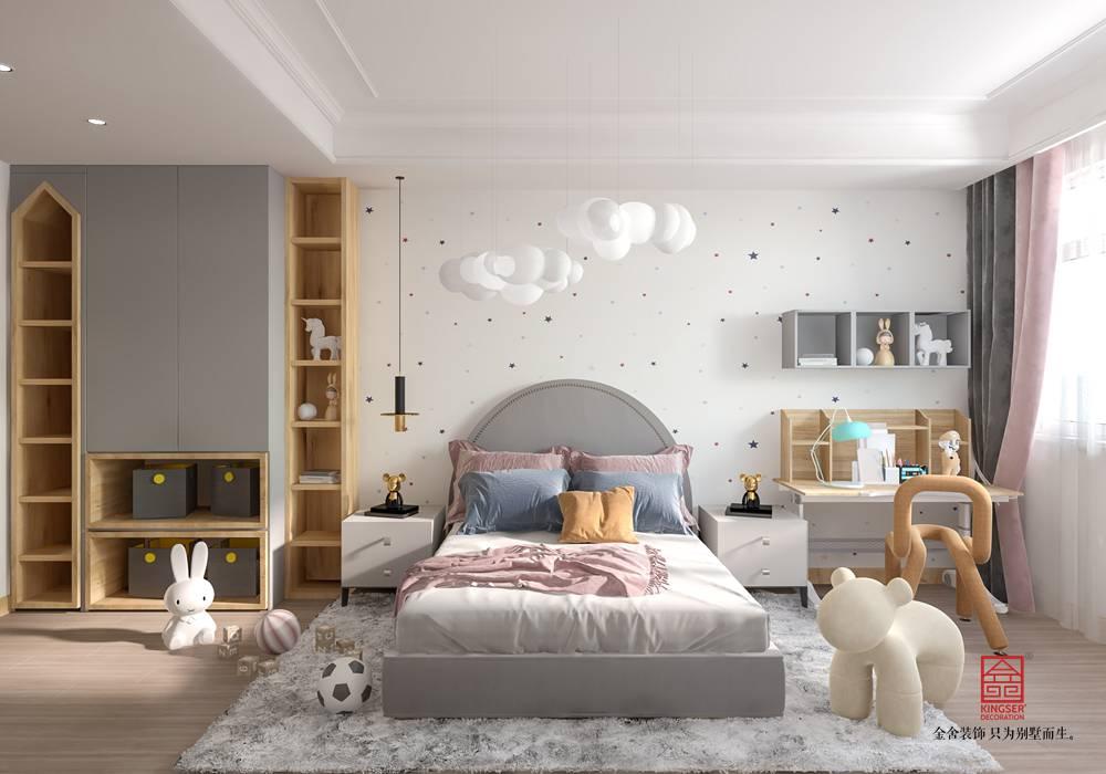 綠都皇城150平米裝修-美式輕奢-臥室
